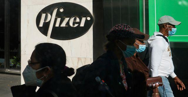 Pfizers huvudkontor i New York.  Bebeto Matthews / TT NYHETSBYRÅN