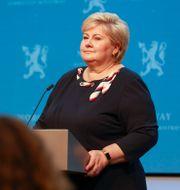 Erna Solberg på måndagens pressträff.  Gisle Oddstad / TT NYHETSBYRÅN