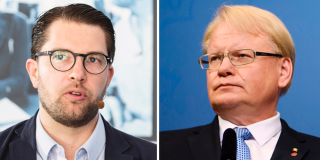 Jimmie Åkesson (SD) och Peter Hultqvist (S). TT
