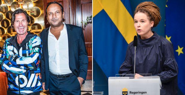 Petter Stordalen, ägare till Nordic Choice Hotels och Vimal Kovac, vd Stureplansgruppen, och Amanda Lind (MP), kulturminister  Henrik Montgomery/TT och Tomas Oneborg/SvD/TT