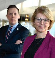 Moderaternas ekonomiskpolitiska talesperson Elisabeth Svantesson och arbetsmarknadspolitiske talesperson Mats Green. Claudio Bresciani/TT / TT NYHETSBYRÅN