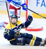 HV71:s Zion Nybeck jublar efter sitt 5-3-mål under torsdagens ishockeymatch i SHL mellan HV71 och IK Oskarshamn i Kinnarps Arena. Mikael Fritzon/TT / TT NYHETSBYRÅN