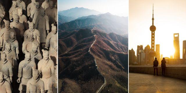Terrakottaarmén, kinesiska muren och Shanghai är tre platser som kan nås med transitvisum. Gary Todd/Alex Qian/Saunak Shah