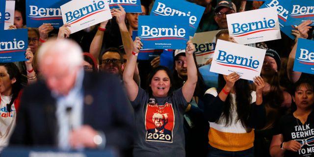 Bernie Sanders på valmöte. David Zalubowski / TT NYHETSBYRÅN