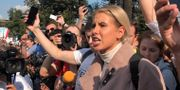 Oppositionspolitikern Lyubov Sobol under en protest 31 augusti. Maria Tsvetkova / TT NYHETSBYRÅN