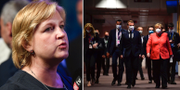 Karin Karlsbro (L)/Macron och Merkel lämnar EU-mötet TT