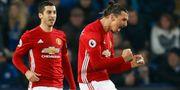Zlatan Ibrahimovic jublar efter sitt mål mot Leicester. Darren Staples / TT NYHETSBYRÅN