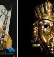En konstrestaurerare håller upp ett halsband/Tutankhamons mask.  TT