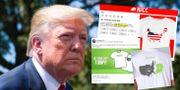 Donald Trump/annonserna där tröjorna säljs. Alex Brandon / TT NYHETSBYRÅN