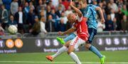 Djurgårdens Gustav Engvall gör 4–1. Erik Simander / TT fotboll / TT NYHETSBYRÅN