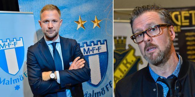 Malmös tränare Magnus Pehrsson och AIK:s tränare Rikard Norling. TT
