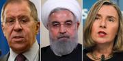 Sergej Lavrov, Hassan Rouhani och Federica Mogherini  TT