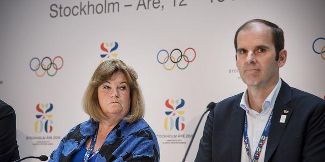 STOCKHOLM 2019-03-16 Gunilla Lindberg, generalsekreterare i SOK, och Richard Brisius, chefen för Stockholm-Åre-ansökan. TT