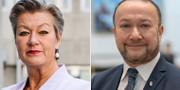 Arbetsmarknadsminister Ylva Johansson (S) och Generaldirektören för Myndigheten för arbetsmiljökunskap, Nader Ahmadi.  TT/Myndigheten för arbetsmiljökunskap