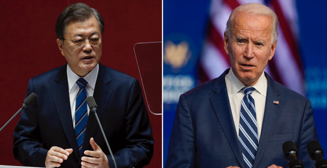 Joe Biden och Moon Jae-in.  TT