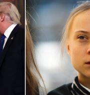 Till vänster: Steve Mnuchin och Donald Trump. Till höger: Klimataktivisten Greta Thunberg.  TT