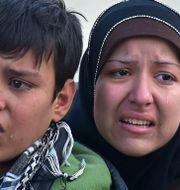7 december, gråtande invånare evakueras från östra Aleppo GEORGE OURFALIAN / AFP