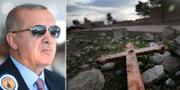Turkiets president Recep Tayyip Erdogan/En förstörd kyrka i byn Tal Jazeera i norra Syrien. TT