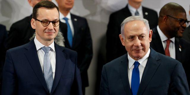 Mateusz Morawiecki och Benjamin Netanyahu. Kacper Pempel / TT NYHETSBYRÅN