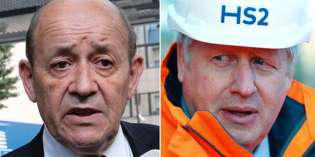 Frankrikes utrikesminister Jean-Yves le Drian, Storbritanniens premiärminister Boris Johnson. TT