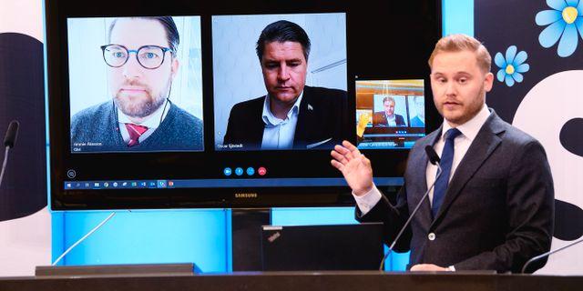 SD:s budgetmotion presenteras via länk 28 april 2020. Henrik Montgomery/TT / TT NYHETSBYRÅN