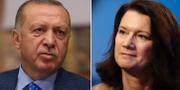 Turkiets president Erdogan och Ann Linde.  TT/AP