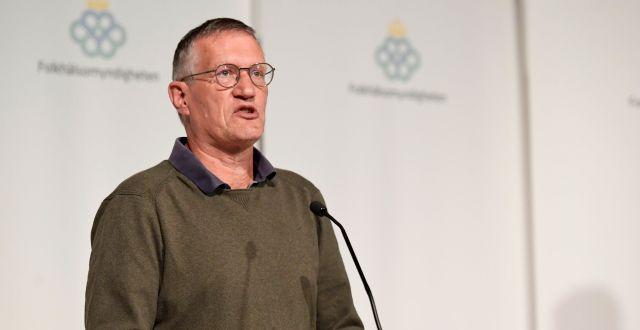 Anders Tegnell på dagens pressträff.  Erik Simander/TT / TT NYHETSBYRÅN