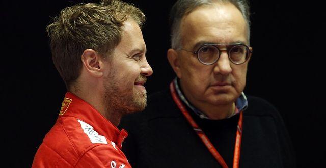 Marchionne tillsammans med Ferraris F1-förare Sebastian Vettel på lördagen. TT