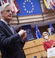 Brittiska Michel Barnier och EU-kommissionens ordförande Ursula von der Leyen. Olivier Hoslet / TT NYHETSBYRÅN