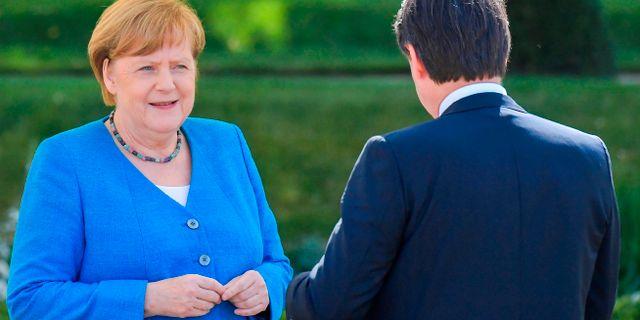 Angela Merkel och Giuseppe Conte. Tobias Schwarz / TT NYHETSBYRÅN