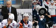 Barry Trotz i Islanders-båset/Trotz lyfter Stanley Cup-bucklan med Capitals. TT