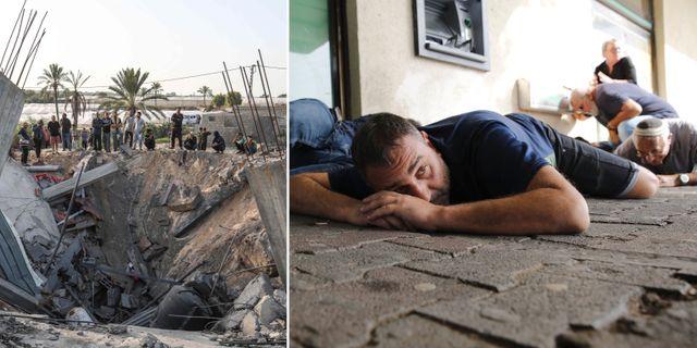 Till vänster: Ett hus som förstördes i de israeliska räderna mot Gaza. Till höger:  Israeler söker skydd söker skydd i Ashkelon under raketattacker från Gaza.  TT