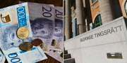 Blekinge tingsrätt och en bild på pengar. TT