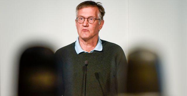 Anders Tegnell på torsdagens pressträff.  Carl-Olof Zimmerman/TT / TT NYHETSBYRÅN
