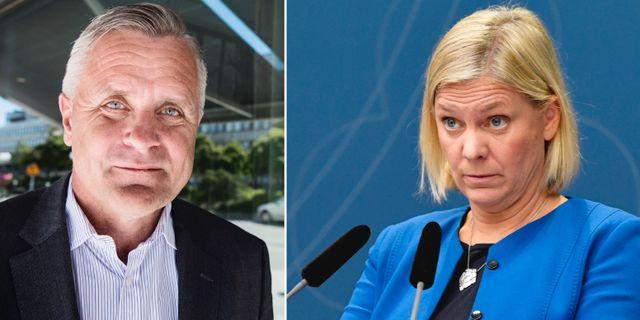 Avanzas vd Rikard Josefson och finansminister Magdalena Andersson (S).  TT