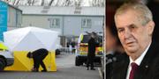 Poliser arbetar på platsen där Sergej Skripal förgiftades. Till höger Miloš Zeman. TT