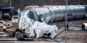 Tåget som var inblandat i onsdagens dödliga olycka. Mads Claus Rasmussen / TT NYHETSBYRÅN/ NTB Scanpix
