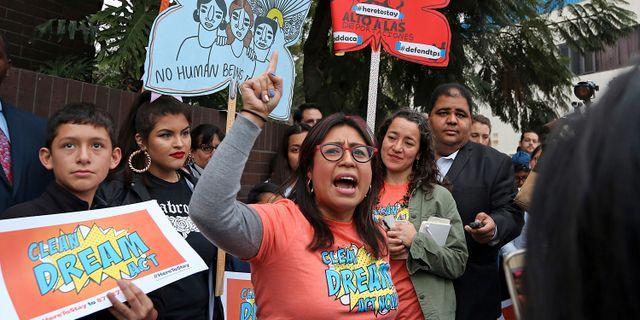 Cristina Jimenez under en demonstration i januari 2018 Reed Saxon / TT / NTB Scanpix