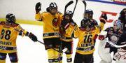 Luleås Nathalie Ferno jublar efter 0-2-målet under fredagens ishockeymatch i SDHL mellan Linköping HC och Luleå HF på Stångebro ishall.  Stefan Jerrevång/TT / TT NYHETSBYRÅN