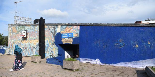 """Graffitiverket """"Highway One"""" i Rågsved efter övermålningen. Henrik Montgomery/TT / TT NYHETSBYRÅN"""