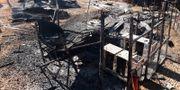 Resterna av en nedbränd klinik i Kongo-Kinshasa. HANDOUT / TT NYHETSBYRÅN