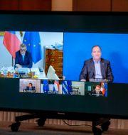 Illustrationsbild. Statsminister Stefan Löfven i ett videomöte med Charles Michel och Tjeckiens premiärminister Andrej Babis, 19 mars.  Stephanie Lecocq / TT NYHETSBYRÅN