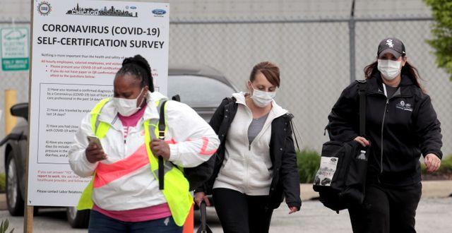 Arkivbild: Arbetare lämnar Fords monteringsfabrik i Chicago SCOTT OLSON / TT NYHETSBYRÅN