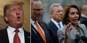 Trump, Schumer och Pelosi på onsdagen. TT