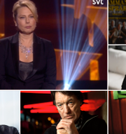Helena Bergström på galan/Mikael Nyqvist, Johannes Brost, Hans Alfredson, Rikard Wolff och Gösta Ekman. SVT/TT