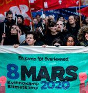 Demonstration i Malmö på internationalla kvinnodagen.   Johan Nilsson/TT / TT NYHETSBYRÅN