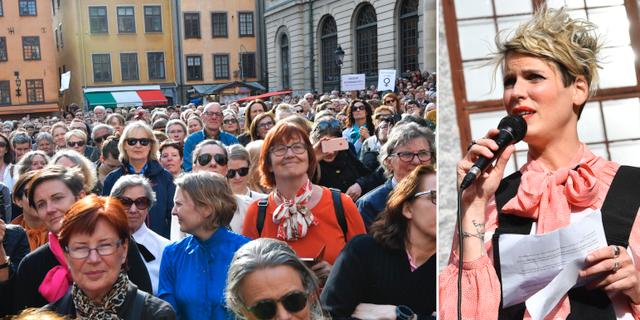 Hundratals har samlats utanför Börshuset. Kriminologen Nina Rung är en av arrangörerna.  TT