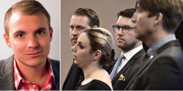Tobias Lundin Gerdås. Arkivbild, SD på presskonferens: Mattias Karlsson, Paula Bieler, Jimmie Åkesson, Richard Jomshof. Vänster bild: LO. Höger: TT.