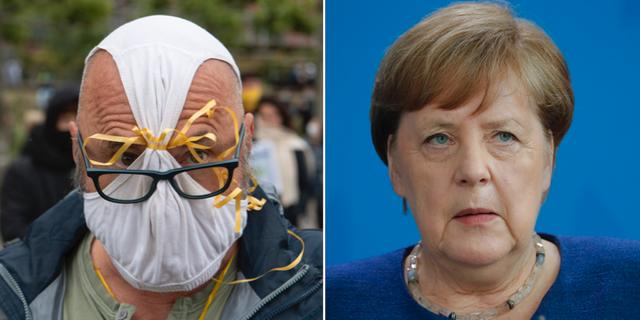 En man använder underkläder som ansiktsmask under dagens protester i Frankfurt/Angela Merkel. TT