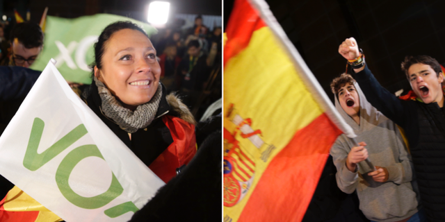 Vox-anhängare firar på valtkvällen i Spanien. TT